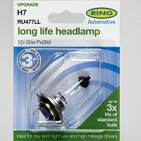 Mercedes Benz C class 2000 to 2007 Ring Long Life H7 Headlight bulb pair RU477LL