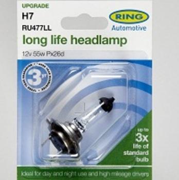 Bmw 5 series 2010 on f10 Ring Long Life H7 Headlight bulb pair RU477LL - H7  twin pack